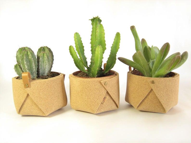 Modern cork planter / succulent planter pot / handmade /