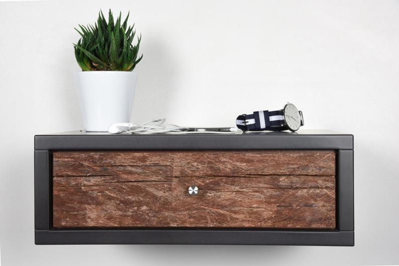 Modern  nightstand end bedside table ideas / Floating wooden