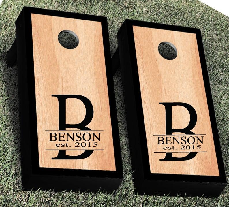 Monogram Wedding Cornhole Decals  Custom Wedding Signs &