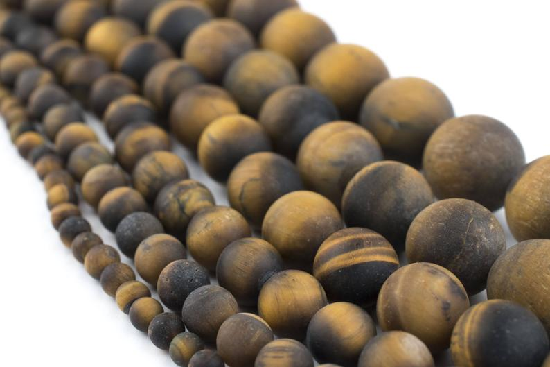 Natural Tiger Eye Beads: Round Gemstone Matte Frosted