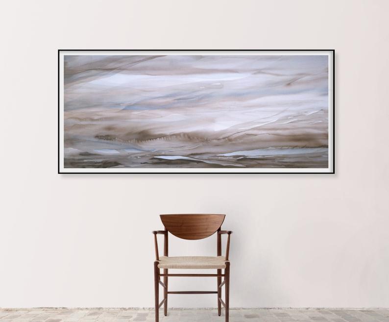 ORIGINAL Abstract Landscape Painting Horizontal Wall Art Extra