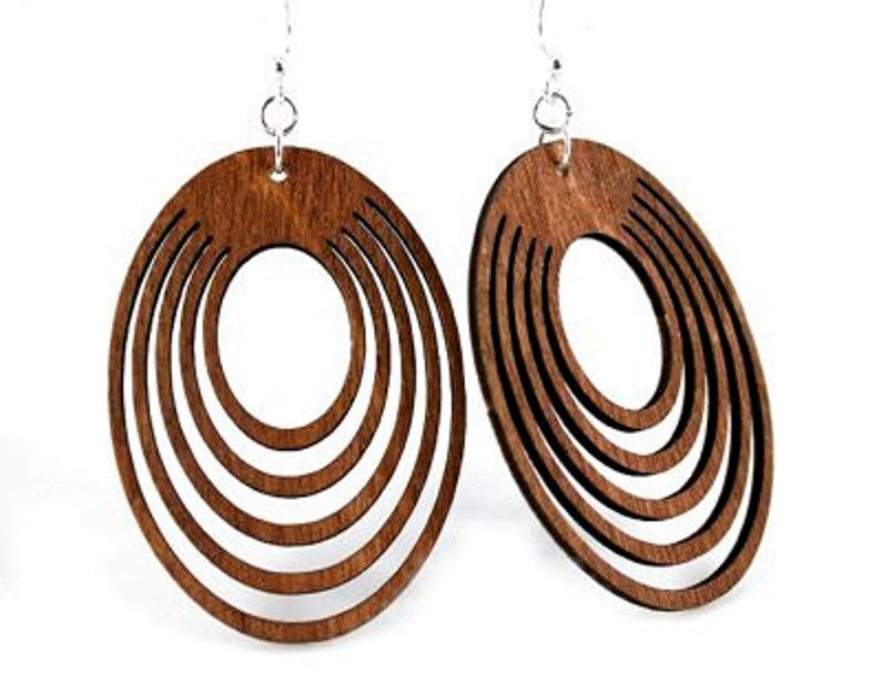 Ovals Offset  Wood Earrings from Reforested trees