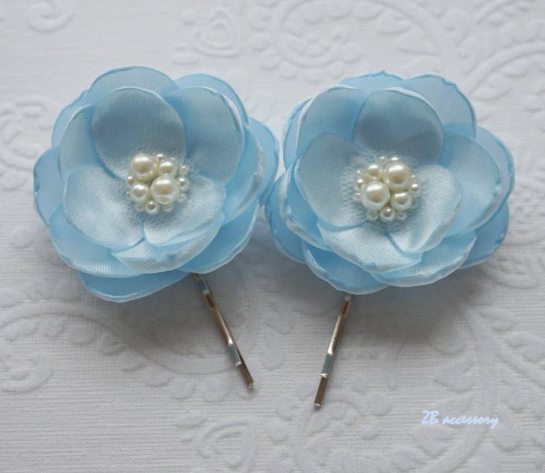 Pale blue hair flower hair flower hair clip light blue hair