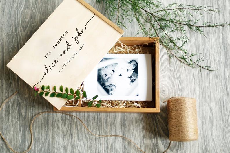Personalized Wedding Photo Box Engraved Wedding Photo Memory
