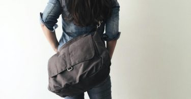 Purplish Gray shoulder diaper bag for mom  Travel messenger
