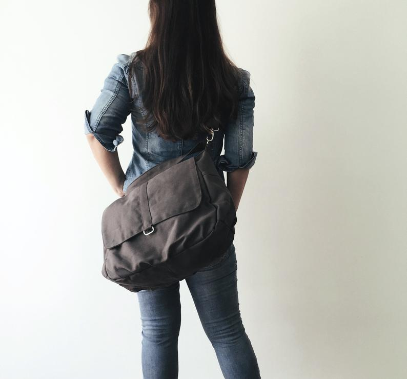 Purplish Gray shoulder diaper bag for mom  Travel messenger