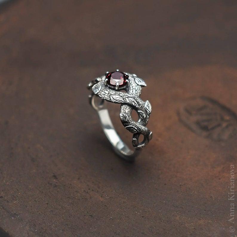 Red Dragon Ring Garnet Engagement Ring Nature Inspired