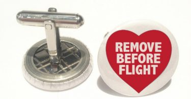 Remove  before flight  cufflinks hart New Velvet Pouch