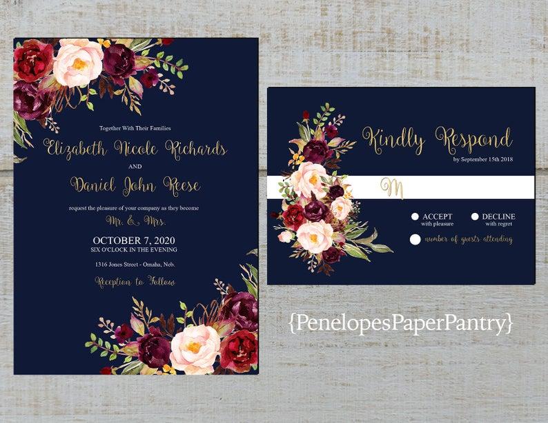 Romantic Navy Fall Wedding InvitationNavy