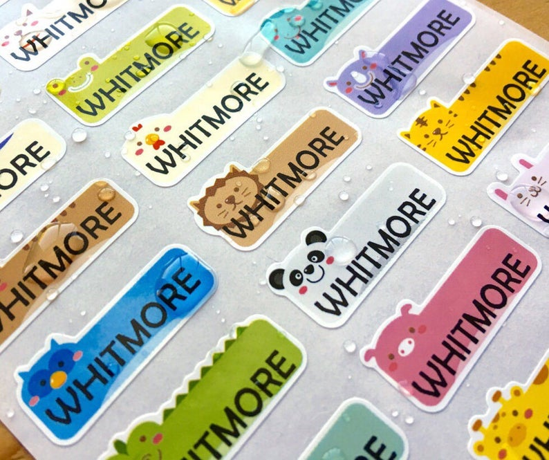 SPECIAL DEAL  Cute Animal Small Waterproof Name Stickers