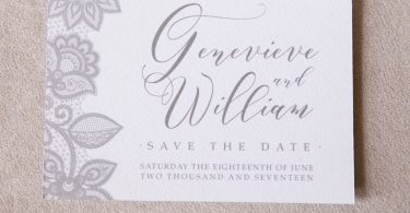 Save the date grey sace the date save the date card lace