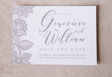 Save the date grey sace the date save the date card lace