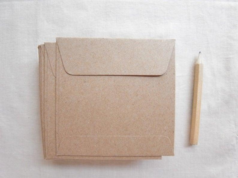 Set of 100 small kraft brown paper envelopes square