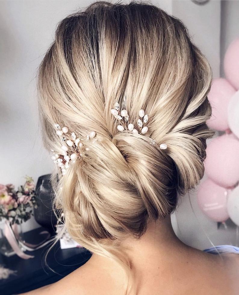 Set of 3 hair pin Bridal hair pieceWedding hair pins Bridal