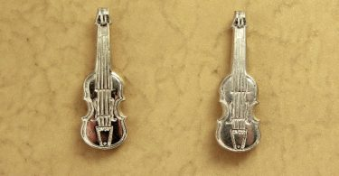 Silver Violin Magnetic Earrings