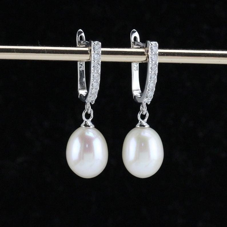 Silver lever back earrings pearlbridesmaid earrings