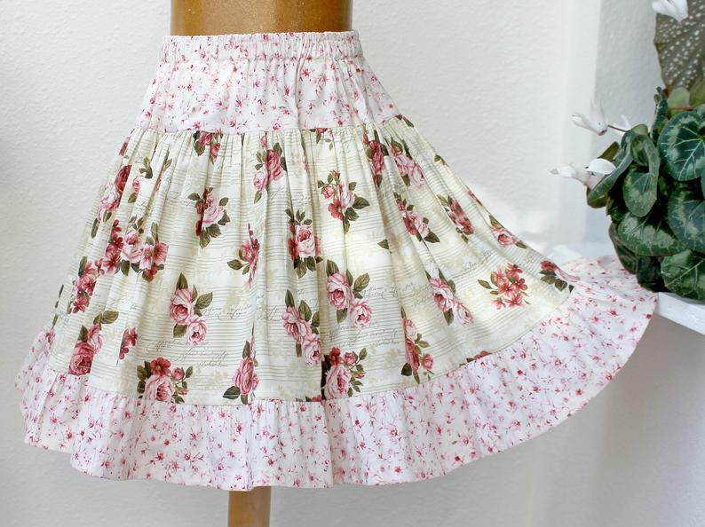 Spring Green & Marsala Rose Girls Skirt Twirl Skirt Handmade