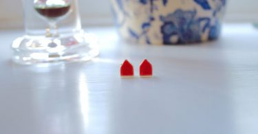 Tiny House Earrings  Porcelain Ceramic Studs Red Glaze