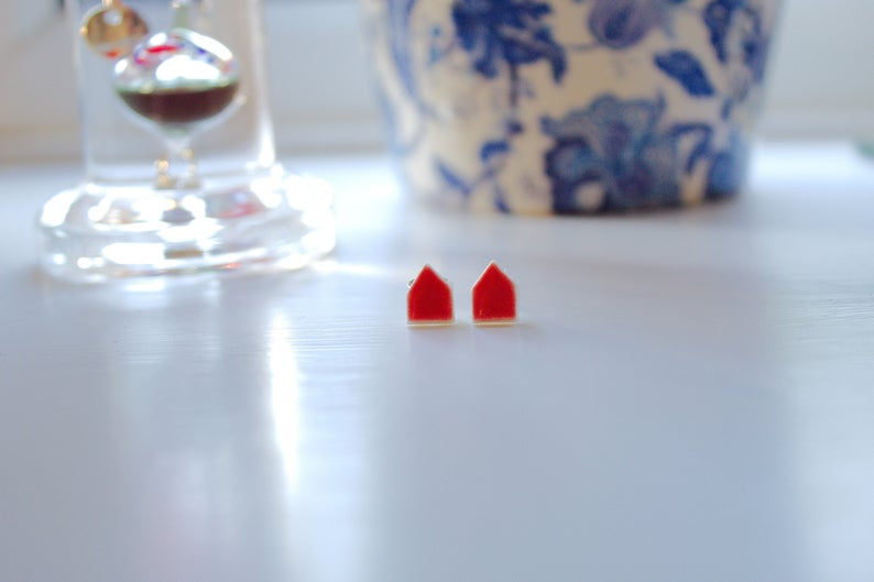 Tiny House Earrings  Porcelain Ceramic Studs Red Glaze