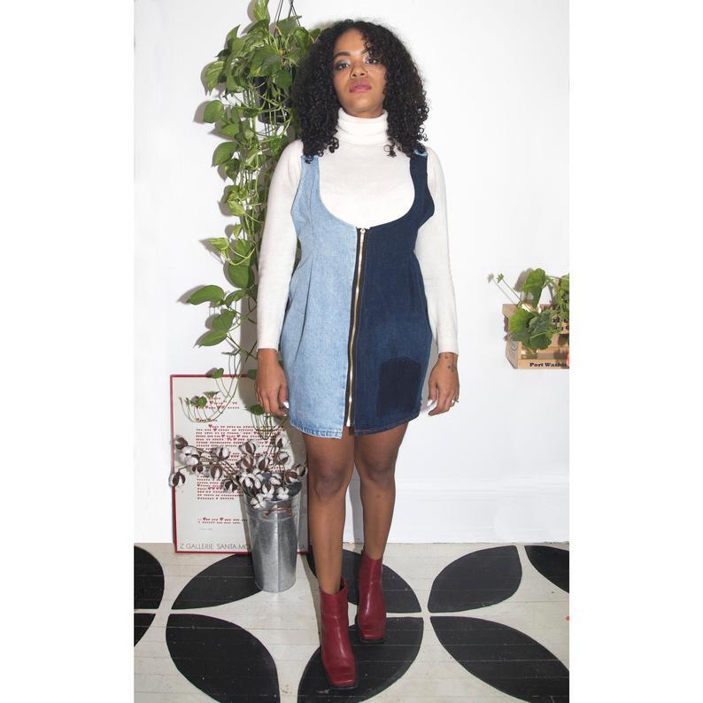 Upcycled overalls mini dress