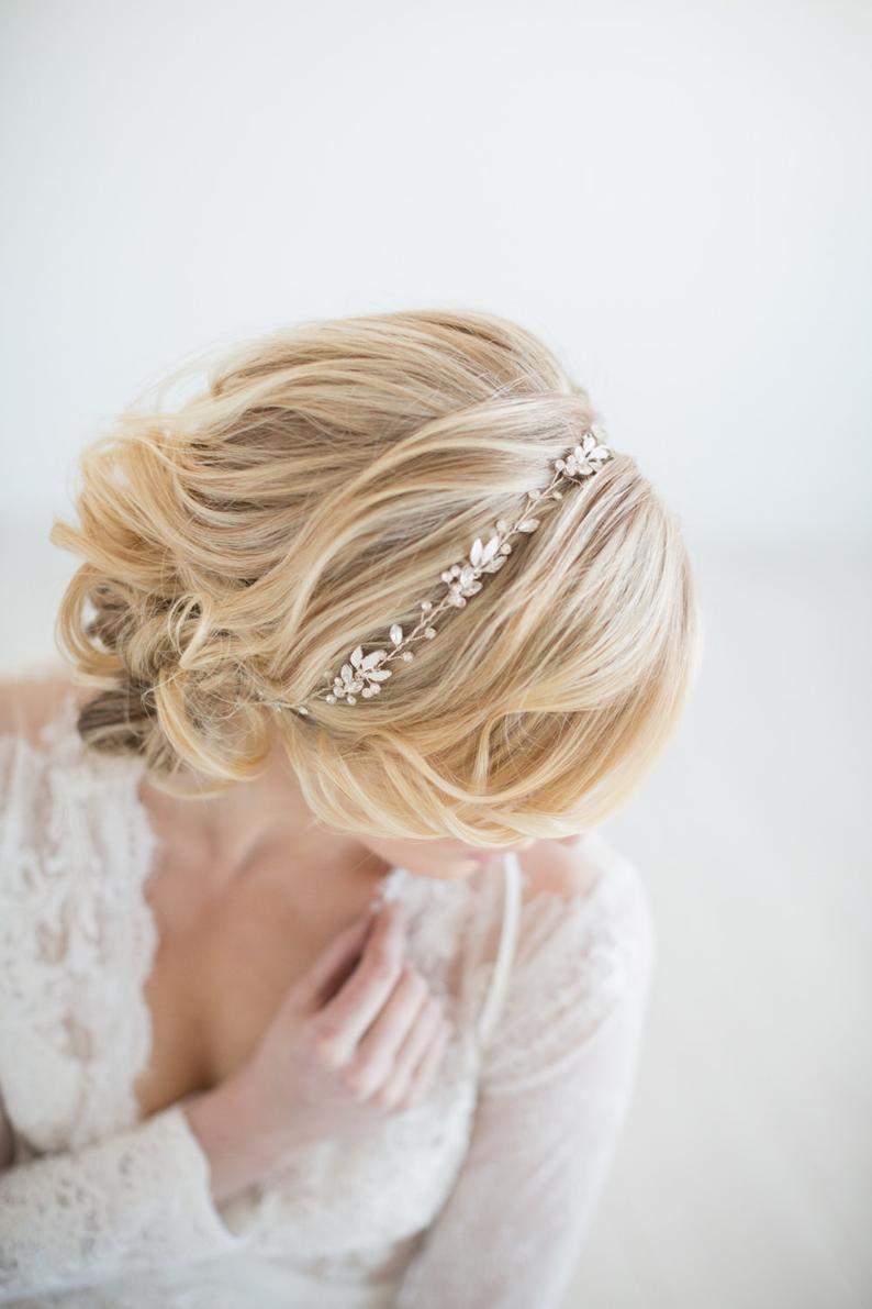 Wedding Hair Vine  Gold Bridal Headpiece Silver Bridal