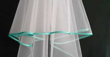 White Wedding Veil Two Layers Turquoise Satin Edging.