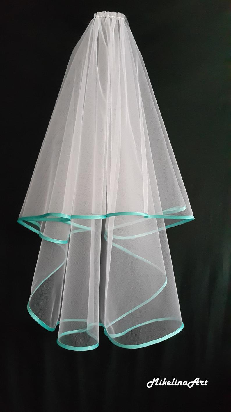 White Wedding Veil Two Layers Turquoise Satin Edging.