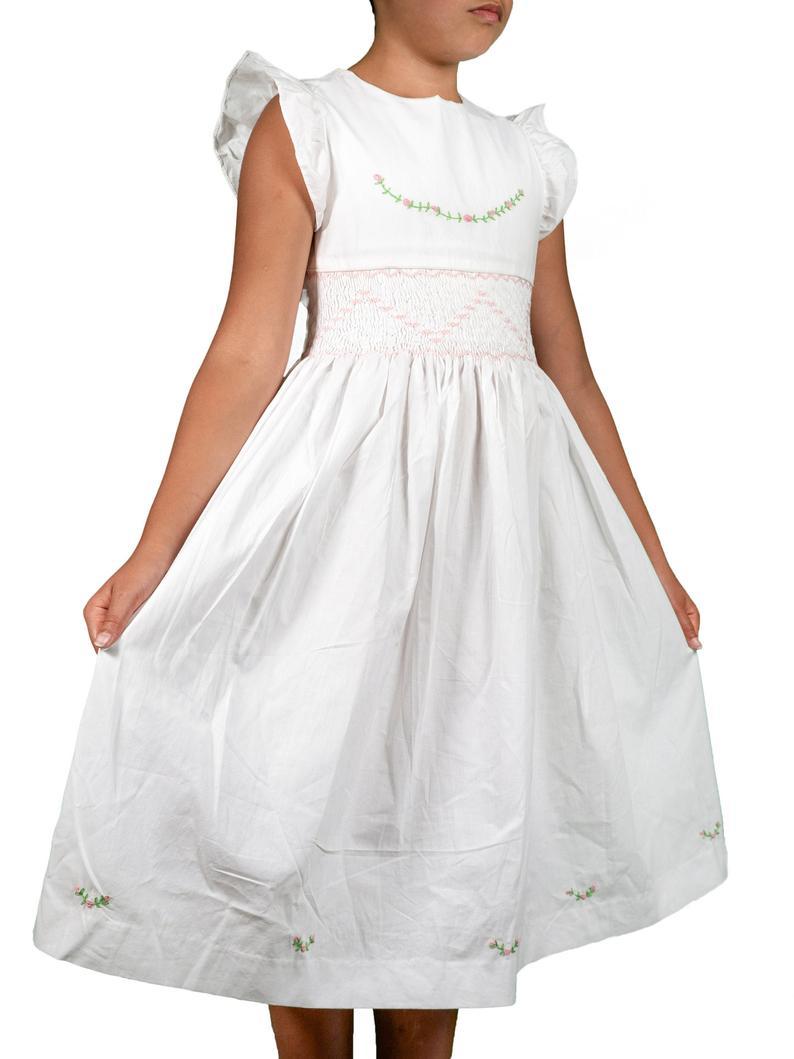 White cotton girl dress flower girl dress handmade