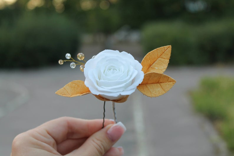 White rose Gold leaf hair pin Bridal hair pin Wedding Gold