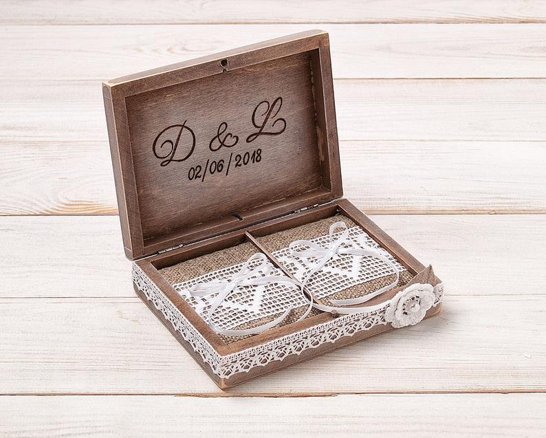 Wood Ring Bearer Box Wedding Ring Holder Custom Ring Pillow