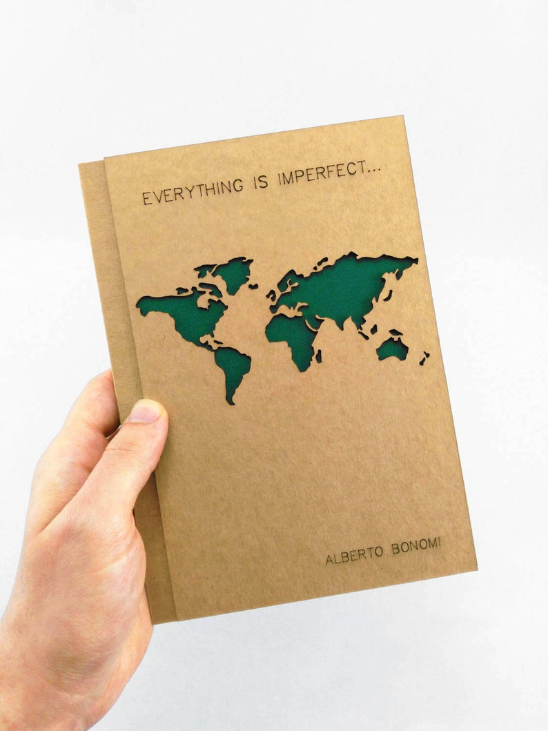 World Map TRAVEL Journal Custom Personalized Notebook Custom