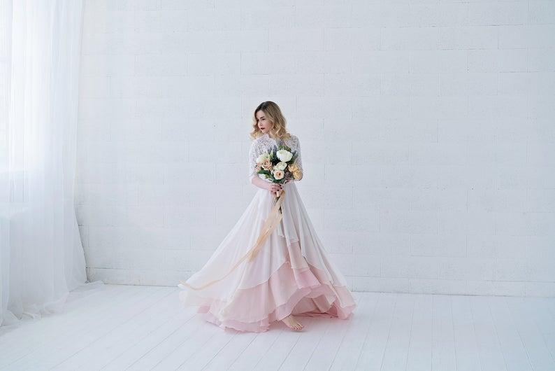 Xylona  bohemian wedding dress / chiffon wedding dress /