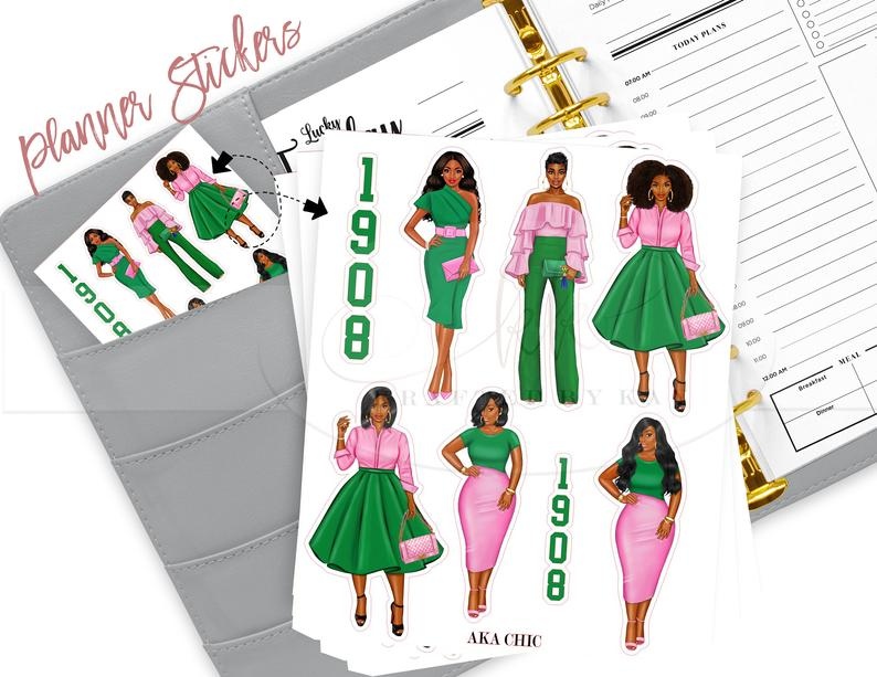 AKA Inspired Planner Stickers  AKA  African American  Afro