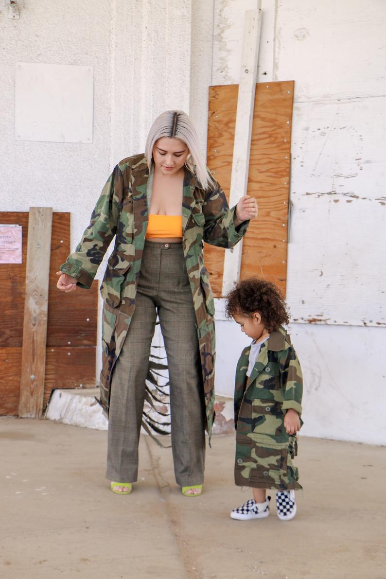 Adult Distressed Long Trench Length Shredded Camouflage Camo