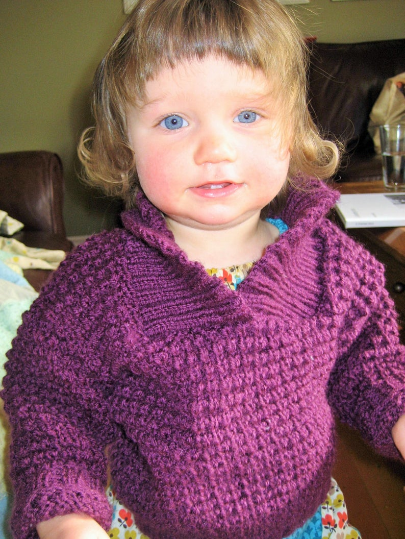 Baby Pullover Sweater  Shawl Collar Sweater Toddler Wool