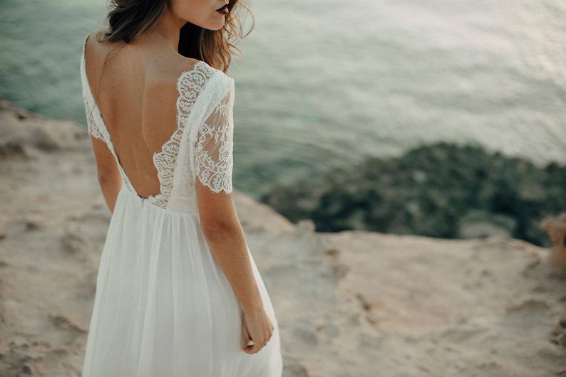 Beach wedding dressboho dress wedding dress bohemian open