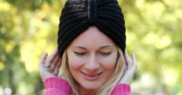 Black turban hat knitted turban hat wool turban hat womens