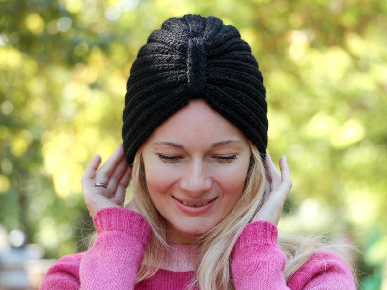 Black turban hat knitted turban hat wool turban hat womens