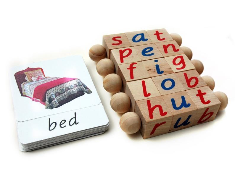Block & Card Set Montessori Phonetic Reading Blocks with
