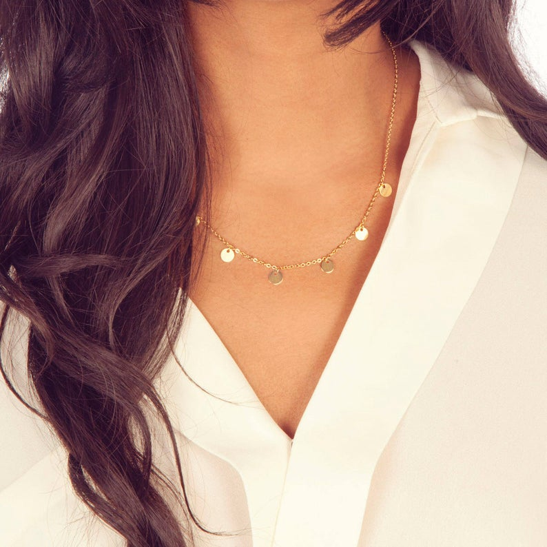 Boho Gift for Her Dainty Gold Disc Necklace / Elegant Holiday