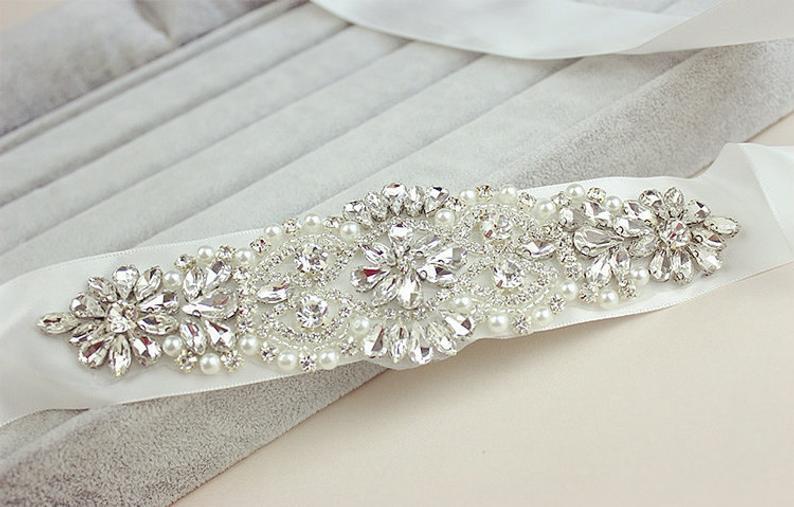 Bridal Rhinestone Sash Belt  Wedding Crystal Sash Belt Wedding