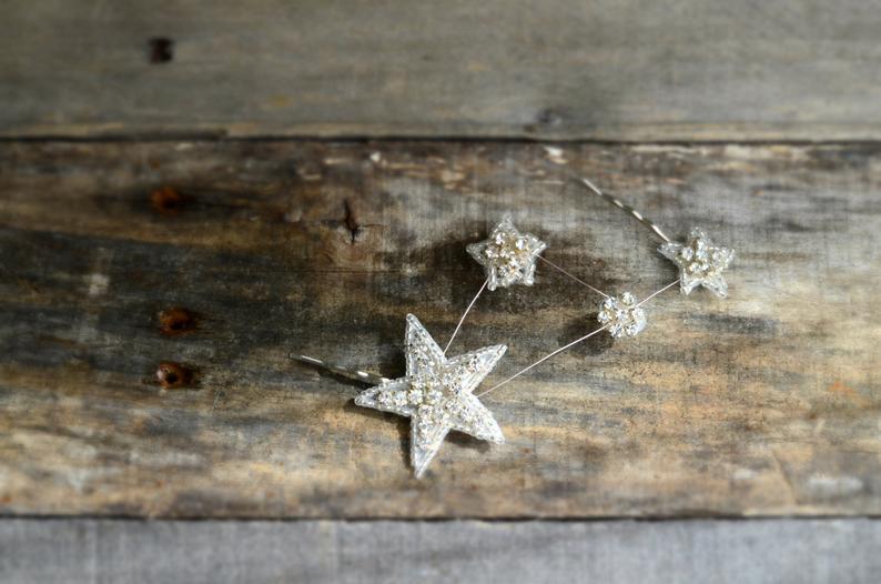 Celestial star hair pins constellation hair clip rhinestone