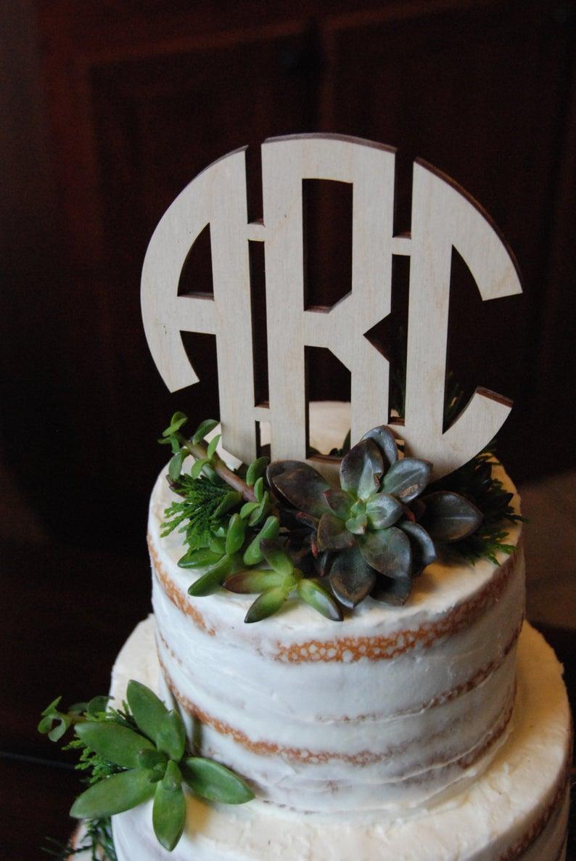 Circle Monogram Cake Topper  Unpainted Wooden Cake Topper