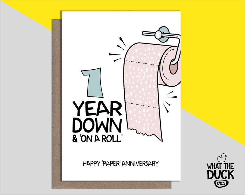 Cute & Funny Homemade Greetings Card For 1 Year Wedding