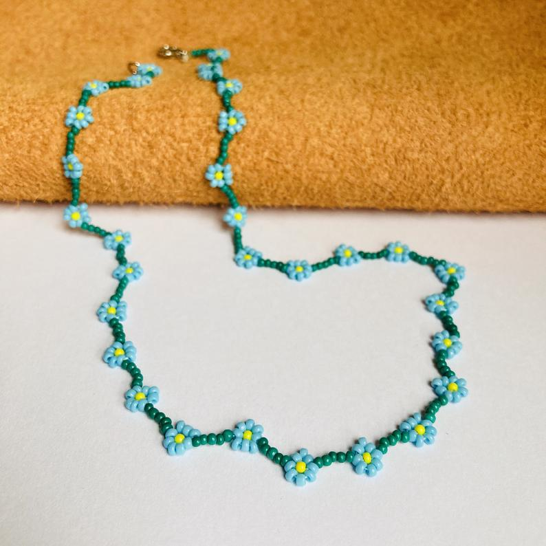Daisy Necklace Turquoise Seed Beaded Flower Personalized Green