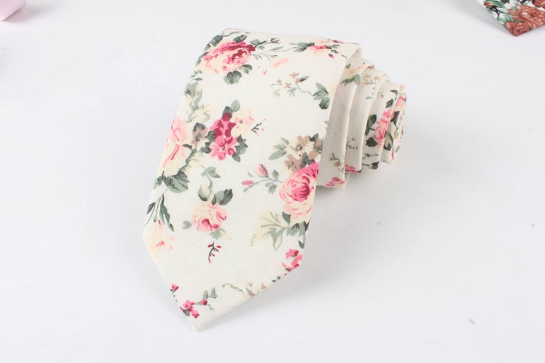 EMMETT Cream Floral Skinny Tie 2.36  floral tie