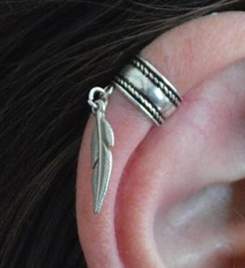 Ear cuff-Ear wrap-silver 925 ear cuff-cartilage cuff-fake