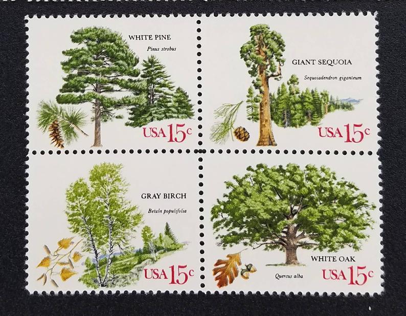 Eight 8 vintage unused postage stamps  Trees // 15 cent