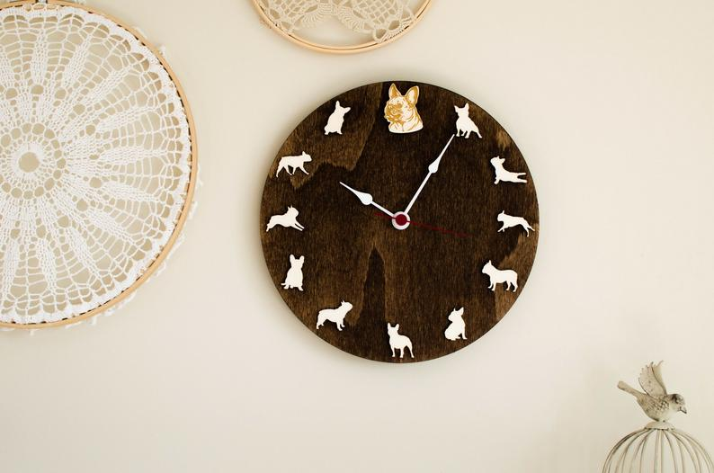 French bulldog portrait wood Clock dog wall clock  Gift for