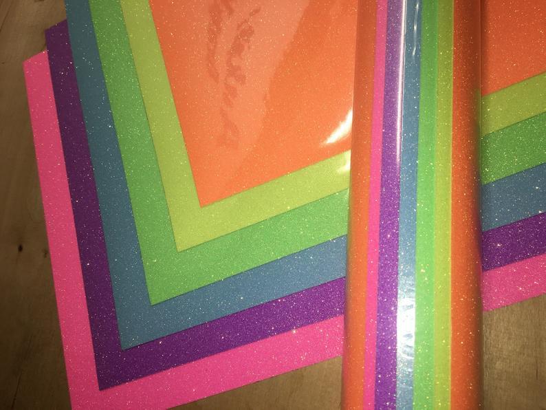 Glitter heat transfer vinyl Neon 8 color pack 12 x